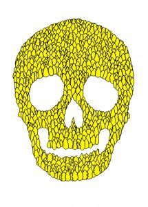 Federico-Lanaro---Supernatural-skull---2013---acrilico-e-pennarello-su-tela---120x100cm